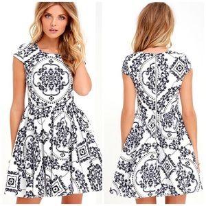 Lulu's Royal Luxe Ivory Print Dress